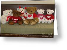 Valentine Teddy Bears In A Row  Greeting Card