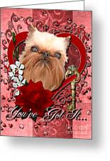Valentines - Key To My Heart Brussels Griffon Greeting Card