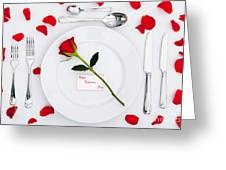Valentines Place Setting With Red Rose And Petals Greeting Card