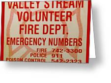 Valley Stream Fire Department Greeting Card
