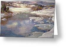 Valley Stream In Winter Greeting Card