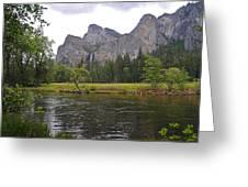 Valley View Of Bridalveil Falls Greeting Card