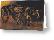 Van Gogh - Karren Mit Rotbraunem Ochsen.jpeg Cart With Red And White  Greeting Card