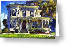 Van Gogh Visits The Old Victorian Camron-stanford House In Oakland California . 7d13440 Greeting Card