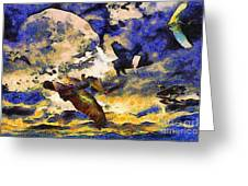 Van Gogh.s Flying Pig Greeting Card by Wingsdomain Art and Photography