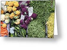 Variety Of Fresh Vegetables - 5d17900-long Greeting Card