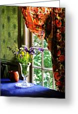 Vase Of Flowers And Mug By Window Greeting Card