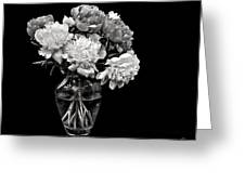 Vase Of Peonies In Black And White Greeting Card