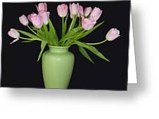 Vase Of Pink Tulips Greeting Card