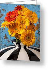 Vase With Gerbera Daisies  Greeting Card