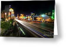 Vegas Light Trails Greeting Card