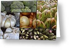 Vegetable Montage Greeting Card by Forest Alan Lee