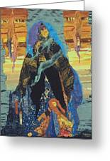 Veiled Woman With Spirit Child Greeting Card by Roberta Baker