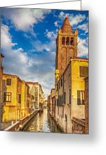 Venice Sunset View Of Two Towers From The Ponte San Barnaba On The Fondamenta Rezzonica Greeting Card