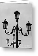 Venitian Lamp Posts Bw Greeting Card