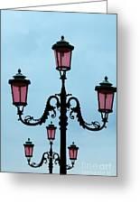 Venitian Lamp Posts Venice Italy Greeting Card