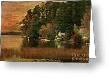 Vermont Autumn Shoreline Greeting Card