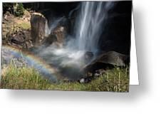 Vernal Falls Rainbow On Mist Trail Yosemite Np Greeting Card