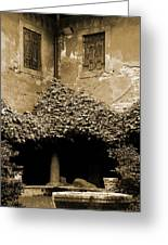 Verona Courtyard II In Sepia Greeting Card