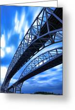 Very Blue Water Bridge  Greeting Card