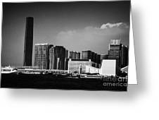 Victoria Harbour View Of Kowloon Tsim Sha Tsui Skyline Including Star Ferry Terminal Hong Kong Greeting Card