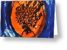 Victorian Contemporary Flowers In Blue And Orange Vortex Swirls Acrylic Monoprint Serigraph Greeting Card