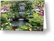 Victorian Garden Waterfall - Digital Art Greeting Card