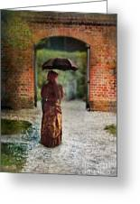 Victorian Lady By Brick Archway Greeting Card
