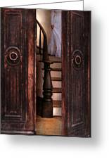 Victorian Lady Descending Stairs Greeting Card