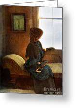 Victorian Lady Gazing Out The Window Greeting Card