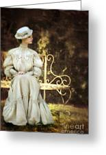 Victorian Lady On Garden Bench Greeting Card