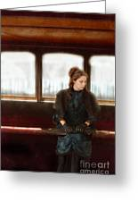 Victorian Lady On Street Car Greeting Card