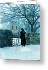 Victorian Woman At The Churchyard Gate Greeting Card