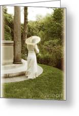 Victorian Woman In Garden With Parasol Greeting Card