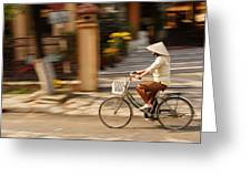 Vietnamese Woman Riding A Bicycle Greeting Card