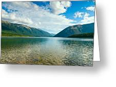 View Above A Beautiful Lake During Mid Day Greeting Card