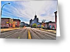 View Down Broadway Into Downtown Buffalo Ny Greeting Card