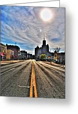 View Down Broadway Into Downtown Buffalo Ny Vert Greeting Card