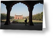 View From Inside The Red Fort With Tourist Greeting Card