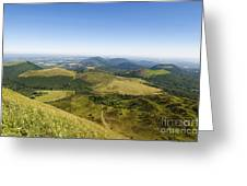 View From Puy De Dome Onto The Volcanic Landscape Of The Chaine Des Puys. Auvergne. France Greeting Card