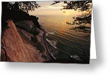View Looking Down Cliffs At Sunset Greeting Card