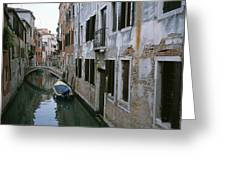View Of A Canal In A Quiet Residential Greeting Card