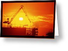 View Of A Construction Site At Sunset Greeting Card
