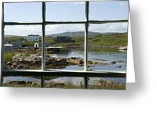 View Of A Harbor Through Window Panes Greeting Card