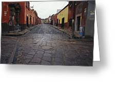 View Of Cobblestone Streets In San Greeting Card