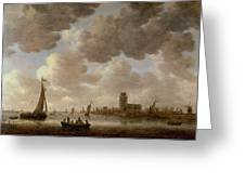 View Of Dordrecht Downstream From The Grote Kerk Greeting Card