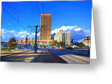 View Of Downtown Buffalo From The Tracks Greeting Card