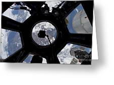 View Of Earth Through The Cupola Greeting Card