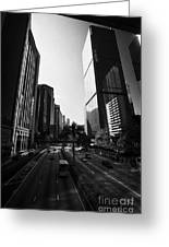 View Of Gloucester Road Wan Chai Skyscrapers Including Revenue Immigration Tower Building Hong Kong Greeting Card by Joe Fox