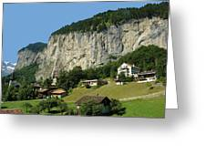 View Of Greenery And Waterfalls On A Swiss Cliff Greeting Card